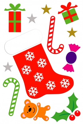 Large Christmas Stocking Gel Art-30x20cm