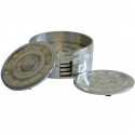 Round Mother of Pearl/Aluminium Set of 6 Coasters