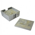 Square Mother of Pearl/Aluminium Set of 6 Coasters